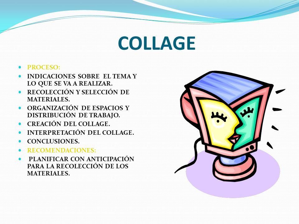 COLLAGE PROCESO: INDICACIONES SOBRE EL TEMA Y LO QUE SE VA A REALIZAR.