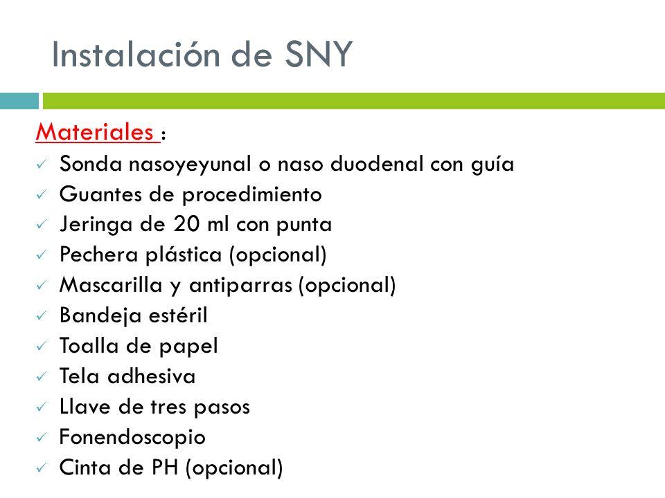 Instalación de SNY Materiales :