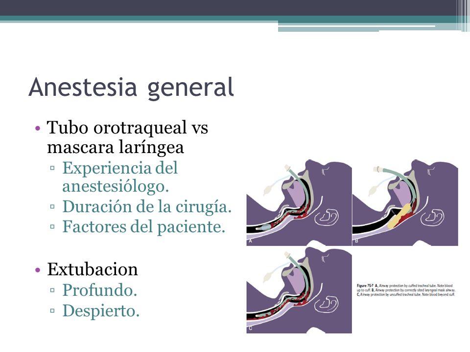 Anestesia general Tubo orotraqueal vs mascara laríngea Extubacion