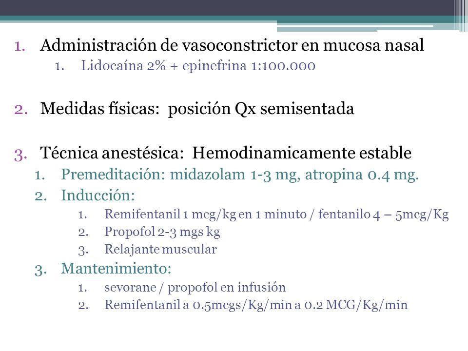Administración de vasoconstrictor en mucosa nasal