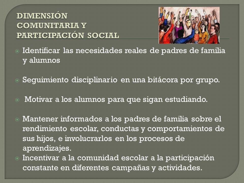 DIMENSIÓN COMUNITARIA Y PARTICIPACIÓN SOCIAL