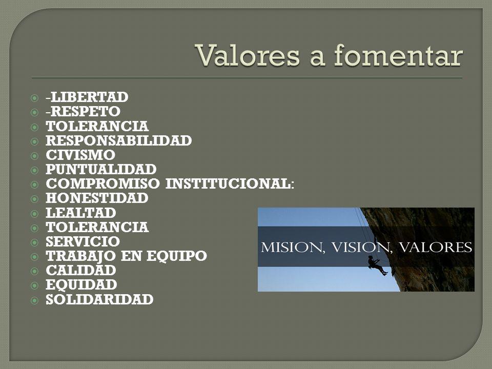 Valores a fomentar -LIBERTAD -RESPETO TOLERANCIA RESPONSABILIDAD