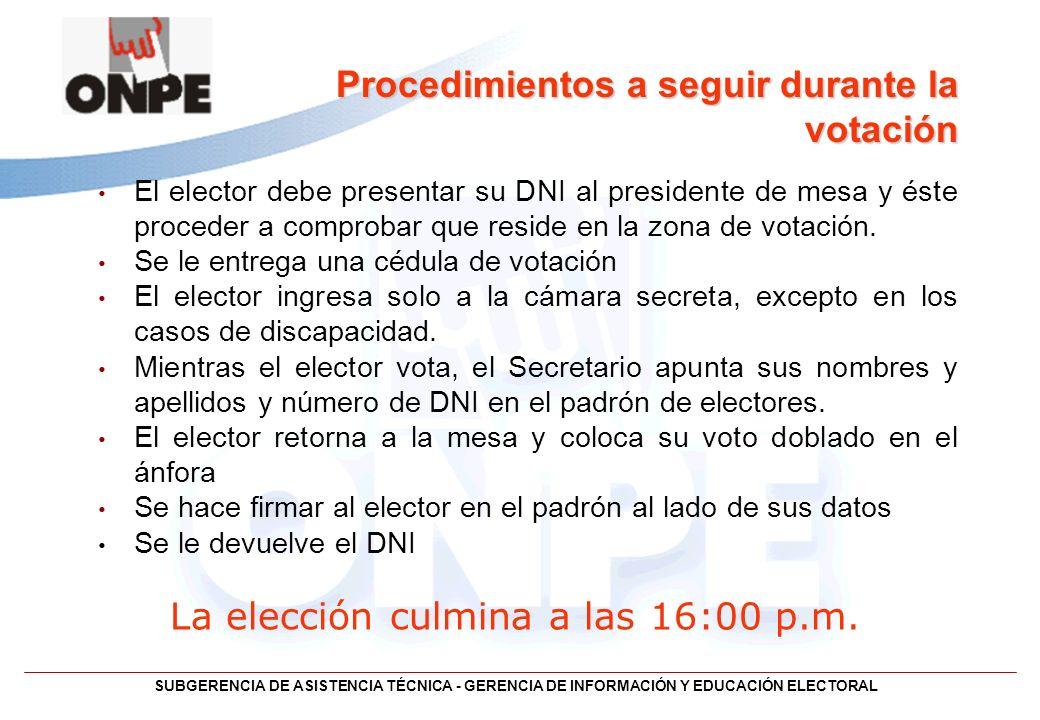 Procedimientos a seguir durante la votación