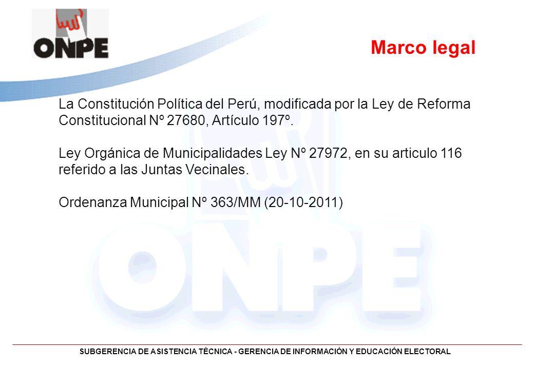 Marco legal La Constitución Política del Perú, modificada por la Ley de Reforma Constitucional Nº 27680, Artículo 197º.