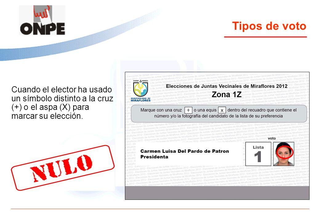 Tipos de voto Cuando el elector ha usado un símbolo distinto a la cruz (+) o el aspa (X) para marcar su elección.