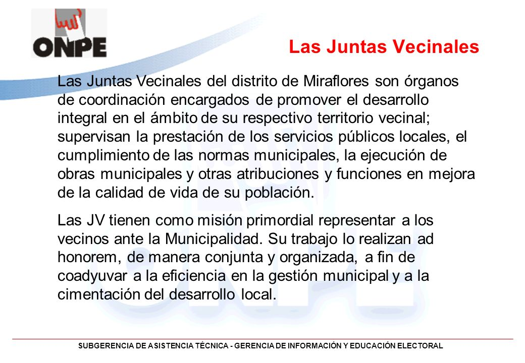 Las Juntas Vecinales