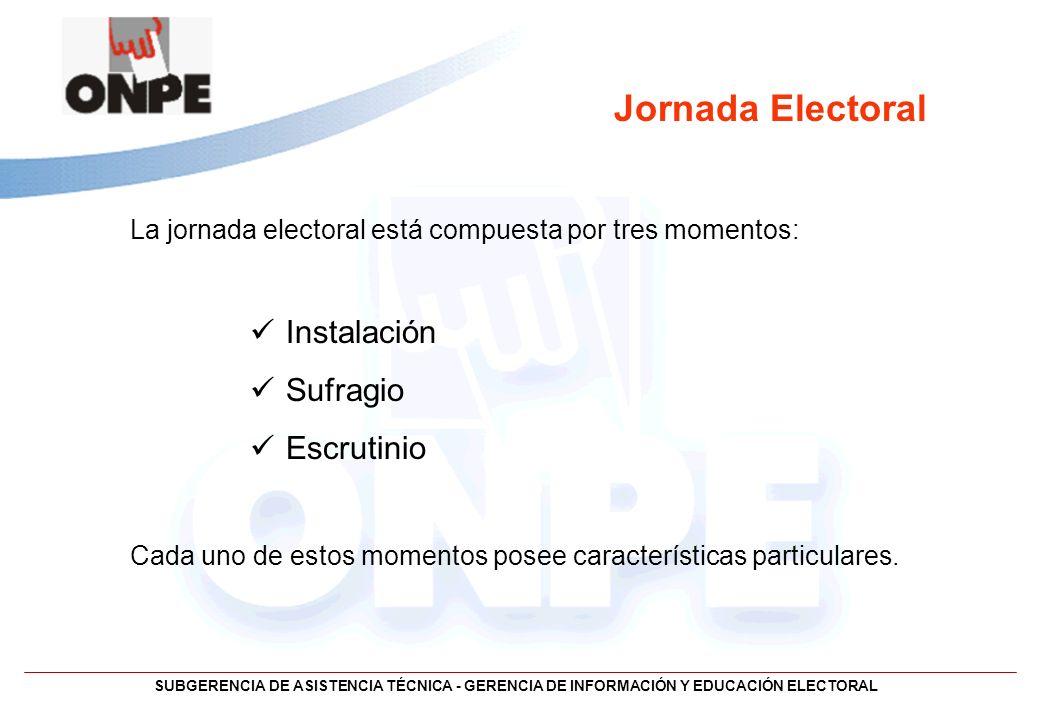 Jornada Electoral Instalación Sufragio Escrutinio
