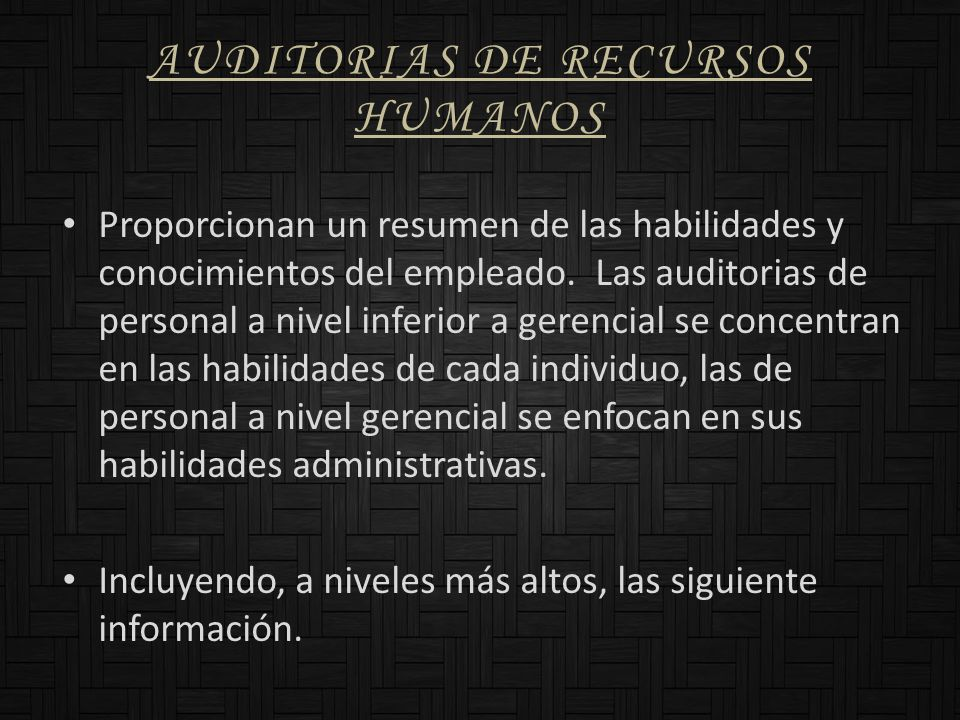 AUDITORIAS DE RECURSOS HUMANOS