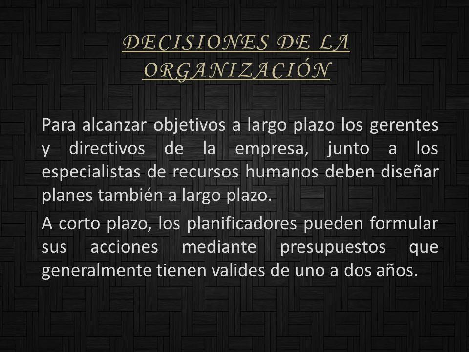 DECISIONES DE LA ORGANIZACIÓN