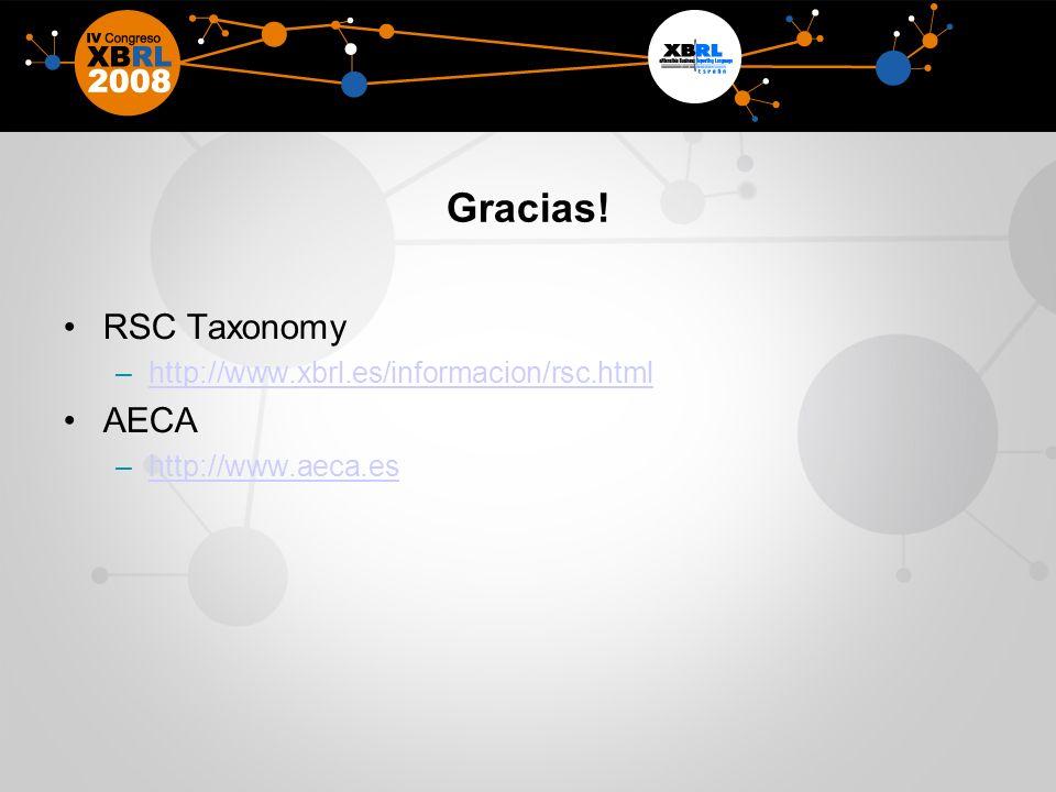 Gracias! RSC Taxonomy AECA http://www.xbrl.es/informacion/rsc.html