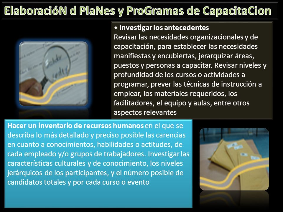 ElaboracióN d PlaNes y ProGramas de CapacitaCion