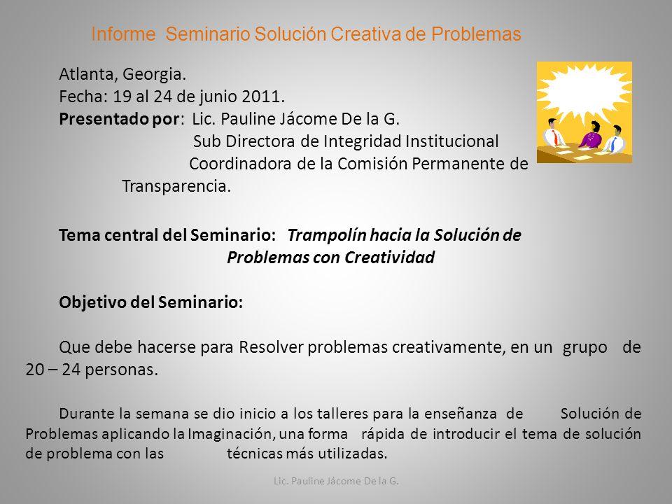 Informe Seminario Solución Creativa de Problemas