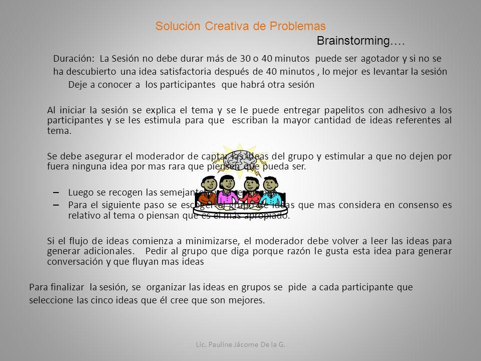Solución Creativa de Problemas Brainstorming….