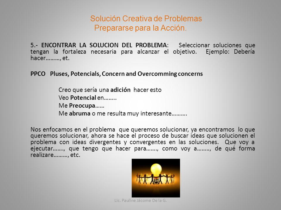 Solución Creativa de Problemas Prepararse para la Acción.