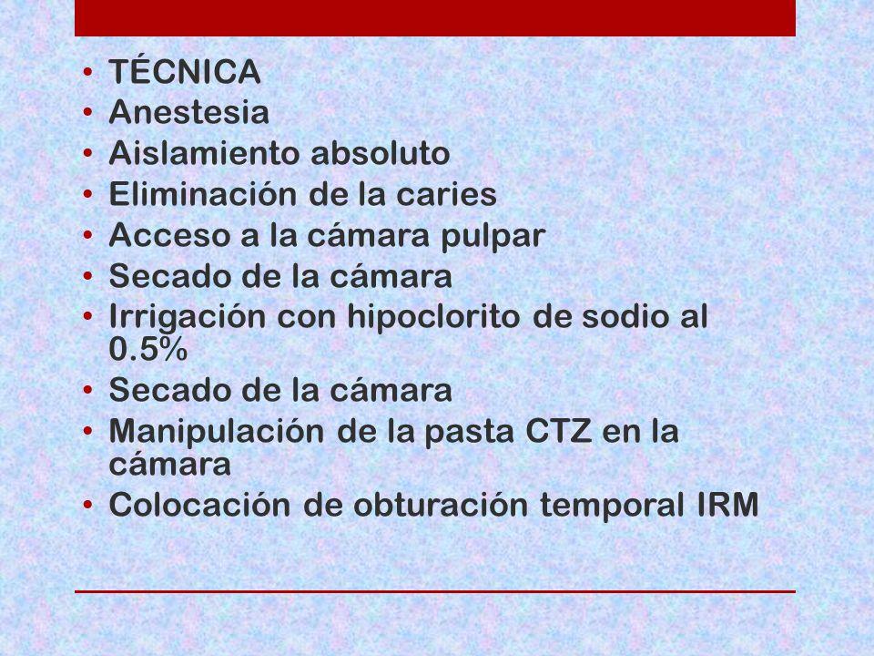 TÉCNICA Anestesia. Aislamiento absoluto. Eliminación de la caries. Acceso a la cámara pulpar. Secado de la cámara.