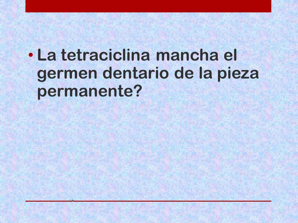 La tetraciclina mancha el germen dentario de la pieza permanente