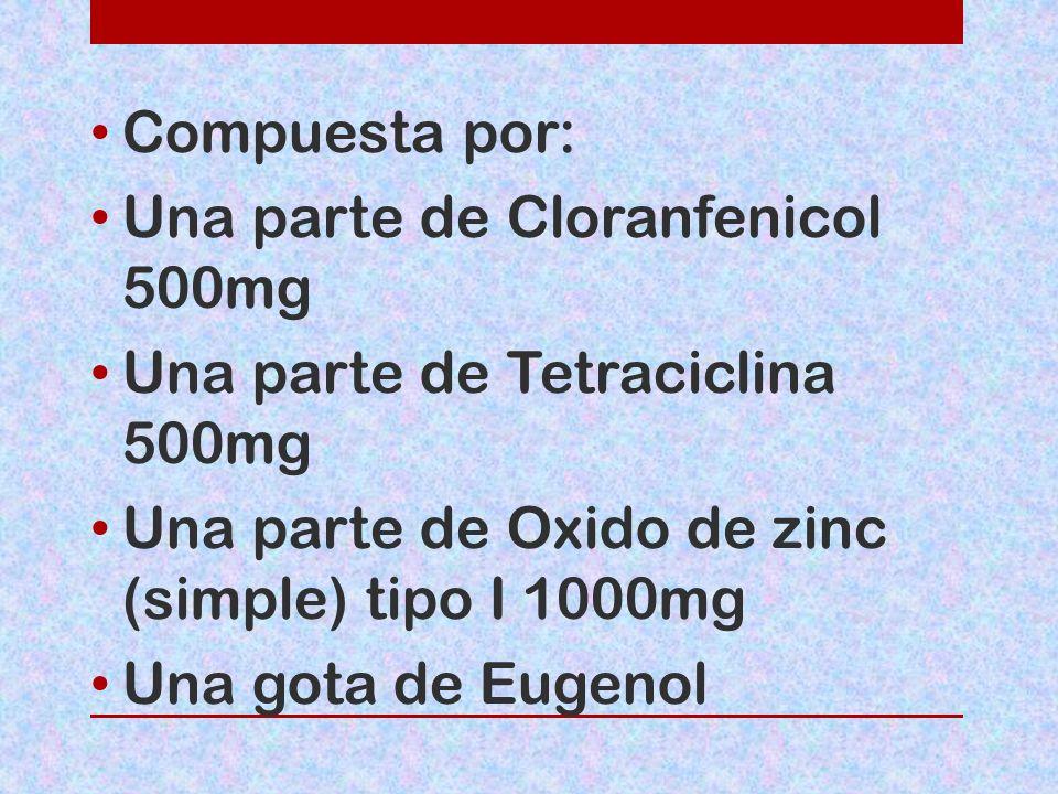 Compuesta por: Una parte de Cloranfenicol 500mg. Una parte de Tetraciclina 500mg. Una parte de Oxido de zinc (simple) tipo I 1000mg.