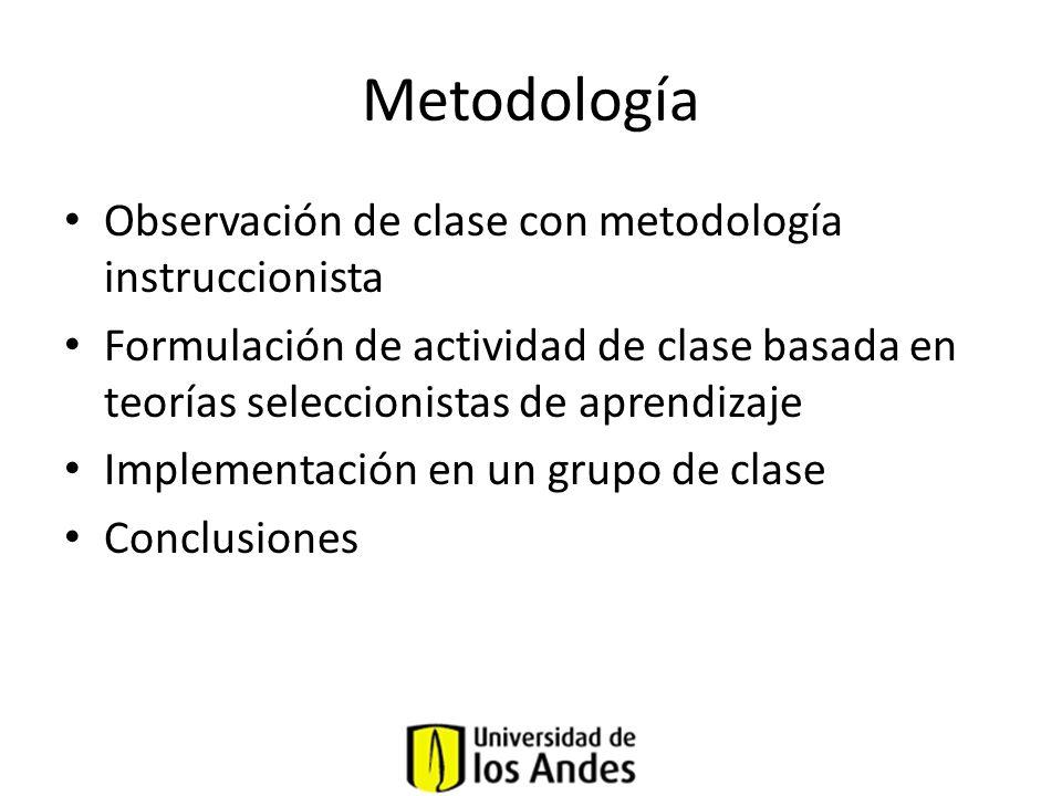 Metodología Observación de clase con metodología instruccionista