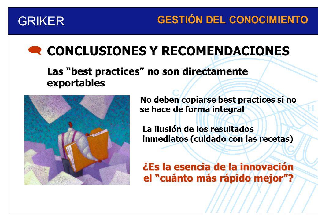  GRIKER CONCLUSIONES Y RECOMENDACIONES GESTIÓN DEL CONOCIMIENTO