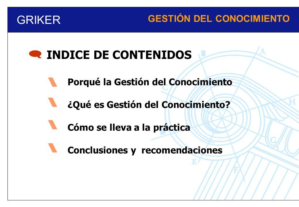  GRIKER INDICE DE CONTENIDOS GESTIÓN DEL CONOCIMIENTO 