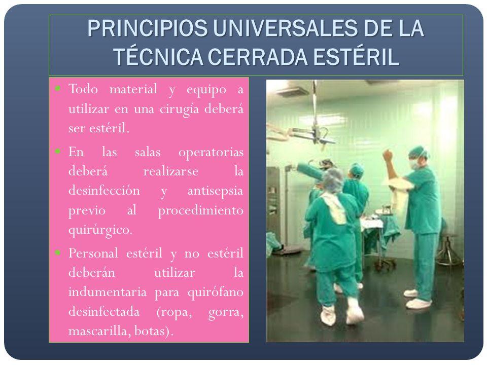 PRINCIPIOS UNIVERSALES DE LA TÉCNICA CERRADA ESTÉRIL