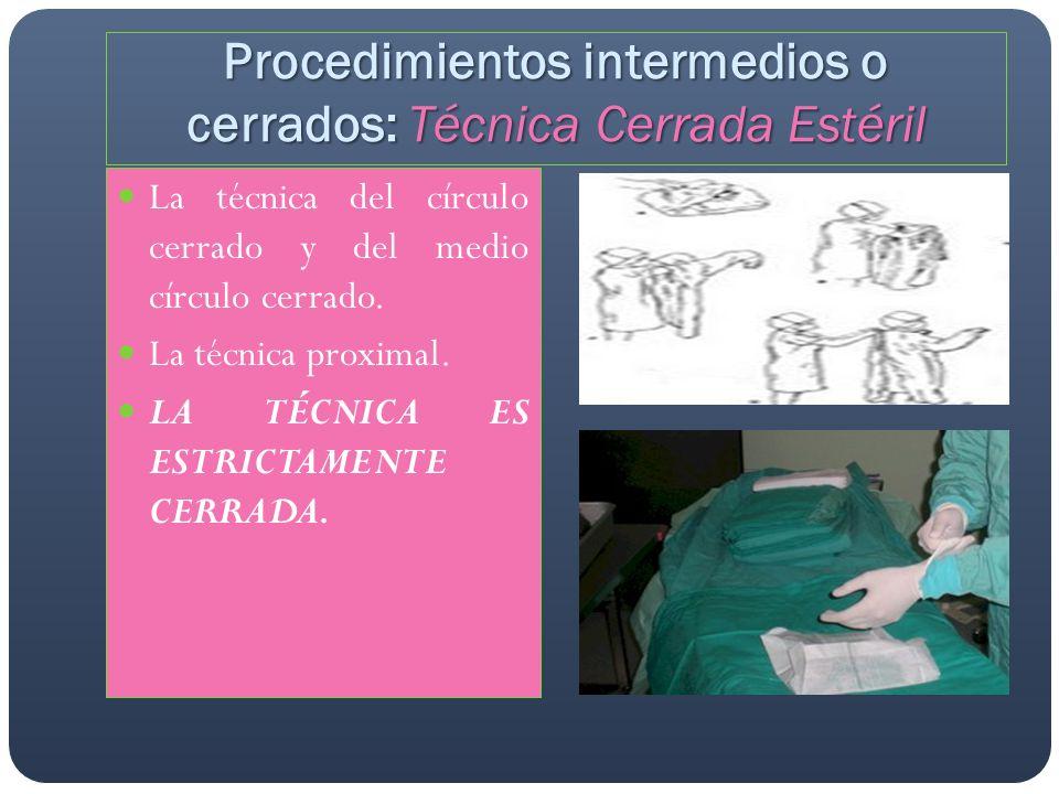 Procedimientos intermedios o cerrados: Técnica Cerrada Estéril