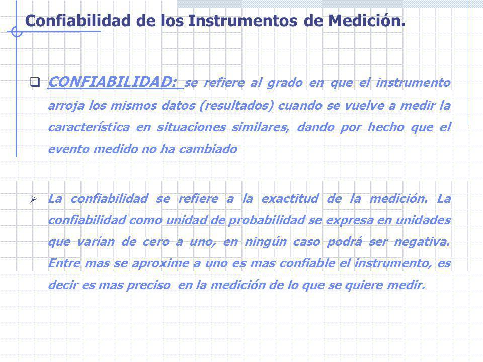 CONFIABILIDAD: se refiere al grado en que el instrumento arroja los mismos datos (resultados) cuando se vuelve a medir la característica en situaciones similares, dando por hecho que el evento medido no ha cambiado