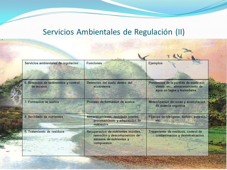 Servicios Ambientales de Regulación (II)