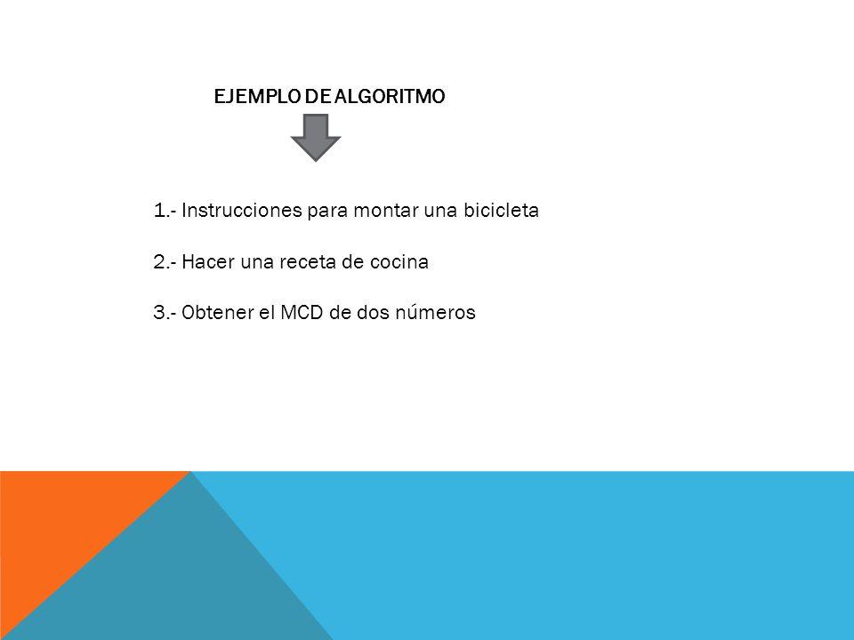 EJEMPLO DE ALGORITMO 1.- Instrucciones para montar una bicicleta.