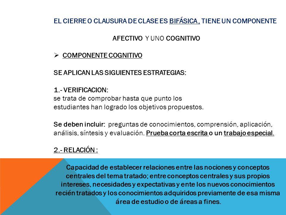 EL CIERRE O CLAUSURA DE CLASE ES BIFÁSICA , TIENE UN COMPONENTE