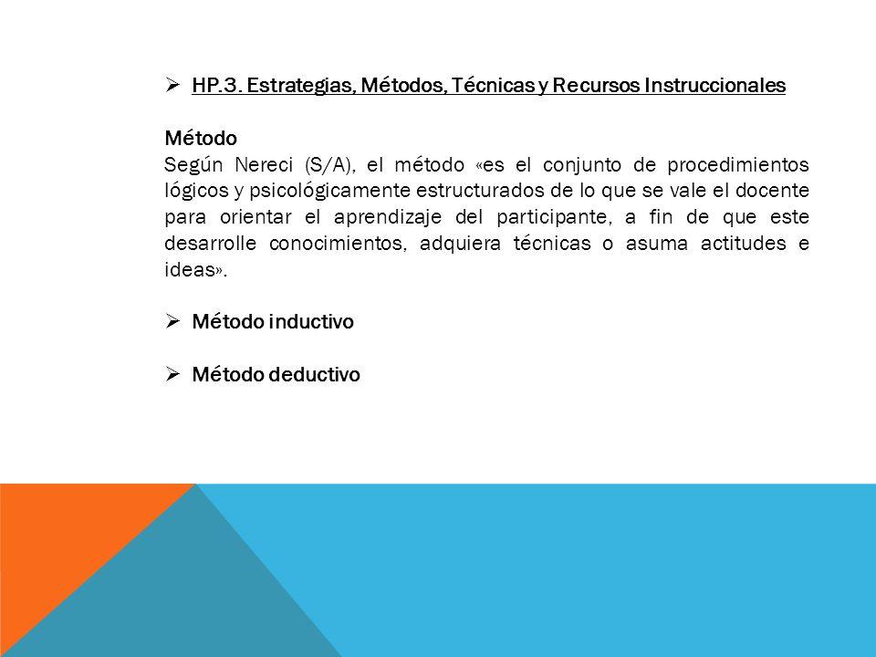 HP.3. Estrategias, Métodos, Técnicas y Recursos Instruccionales