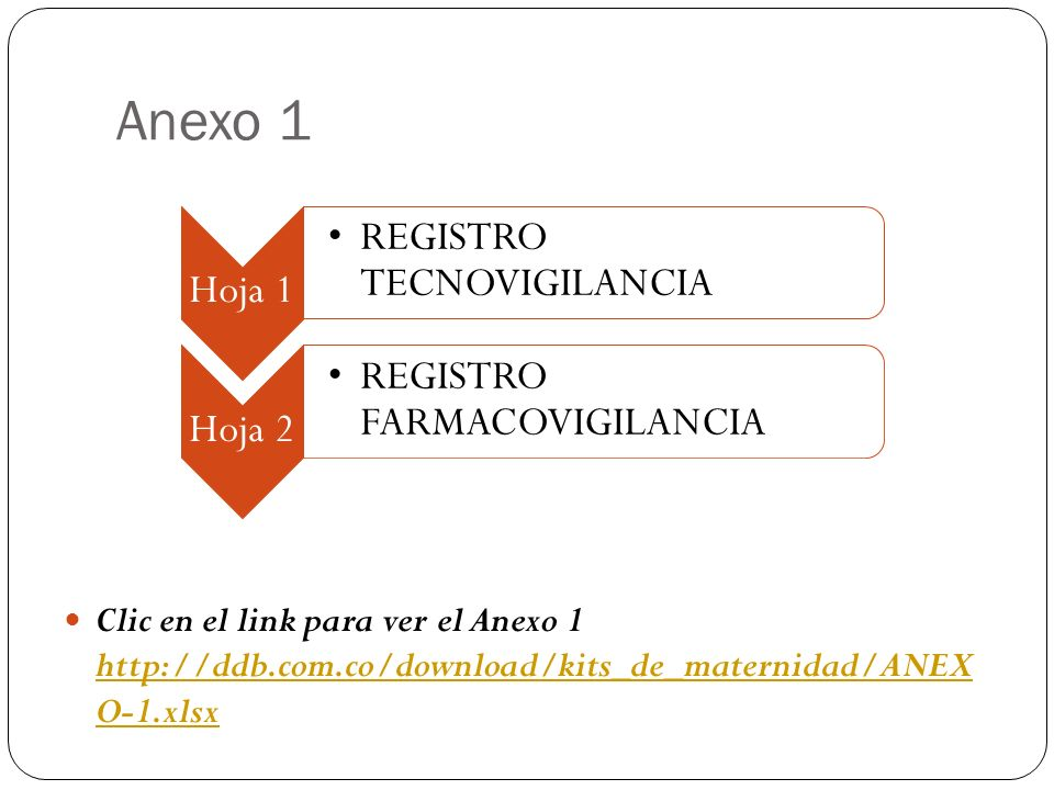 Anexo 1 Hoja 1. REGISTRO TECNOVIGILANCIA. Hoja 2. REGISTRO FARMACOVIGILANCIA.