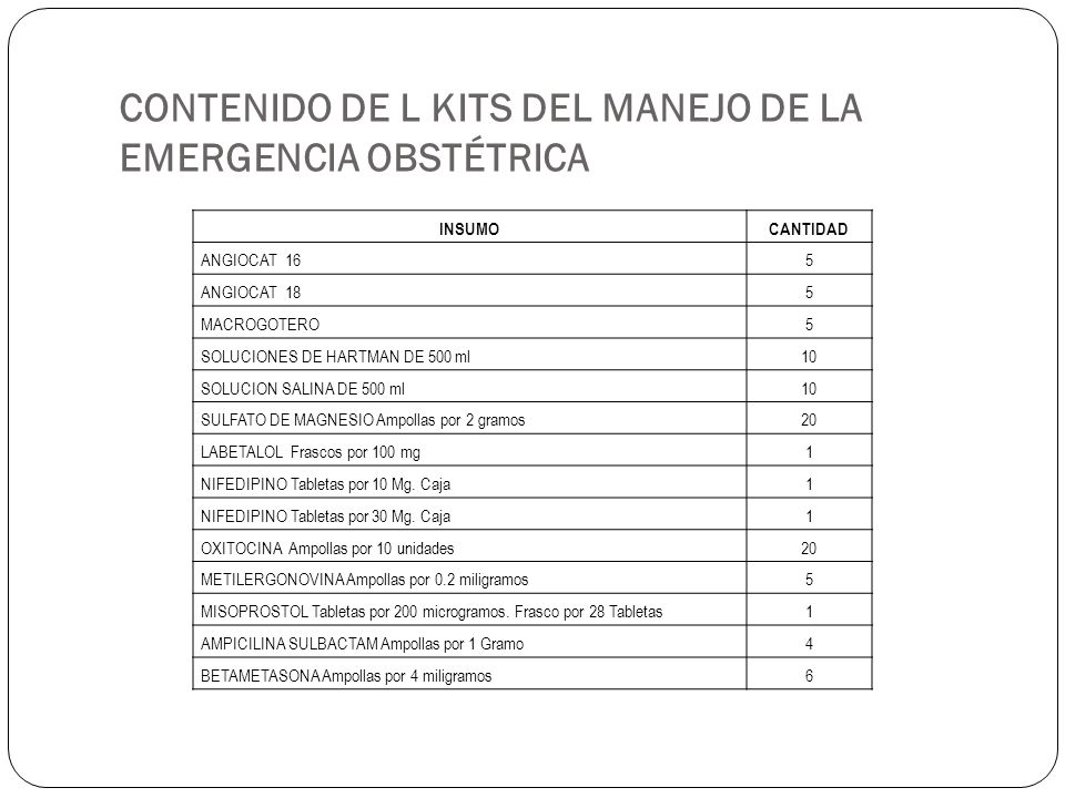 CONTENIDO DE L KITS DEL MANEJO DE LA EMERGENCIA OBSTÉTRICA
