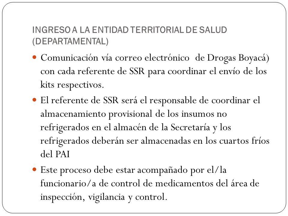 INGRESO A LA ENTIDAD TERRITORIAL DE SALUD (DEPARTAMENTAL)