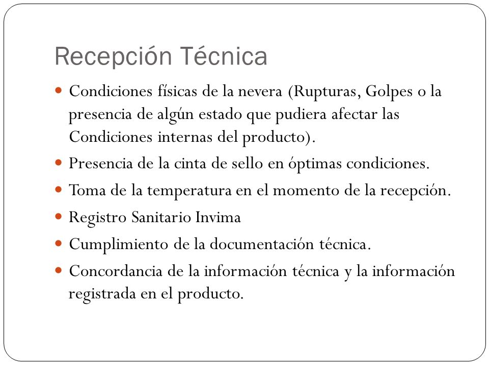 Recepción Técnica