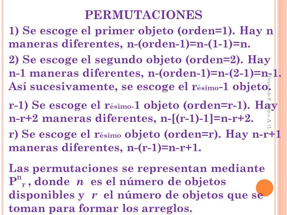 PERMUTACIONES 1) Se escoge el primer objeto (orden=1). Hay n maneras diferentes, n-(orden-1)=n-(1-1)=n.