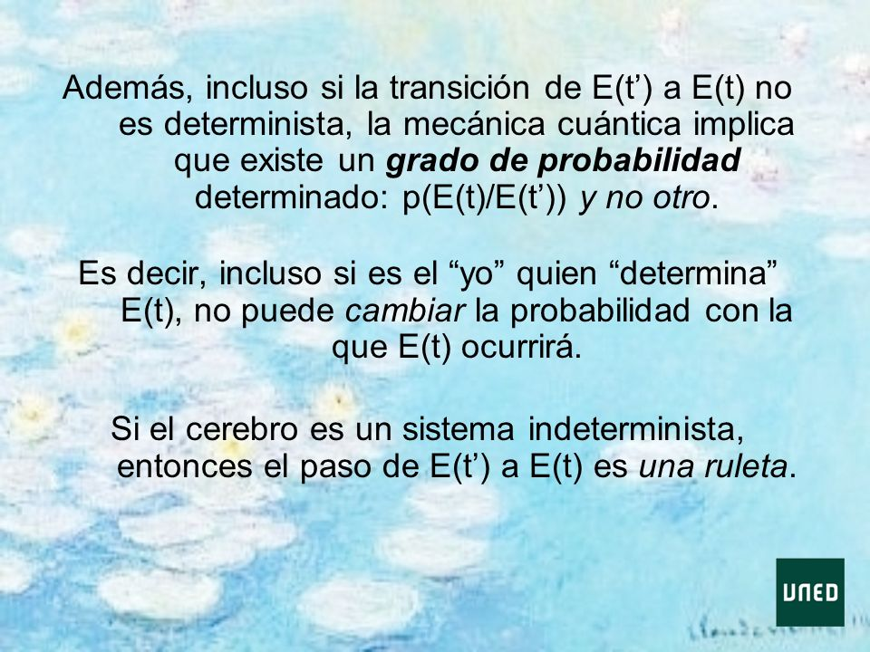 Además, incluso si la transición de E(t') a E(t) no es determinista, la mecánica cuántica implica que existe un grado de probabilidad determinado: p(E(t)/E(t')) y no otro.