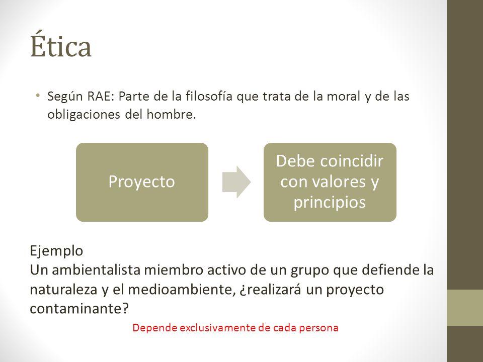Ética Debe coincidir con valores y principios Proyecto Ejemplo