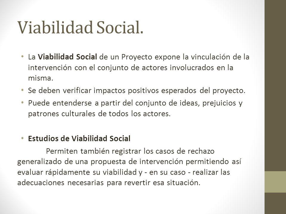 Viabilidad Social. La Viabilidad Social de un Proyecto expone la vinculación de la intervención con el conjunto de actores involucrados en la misma.