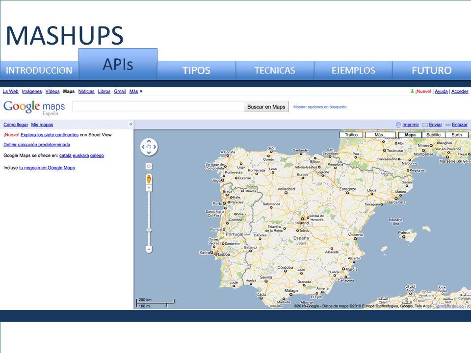 MASHUPS APIs INTRODUCCION TIPOS TECNICAS EJEMPLOS FUTURO