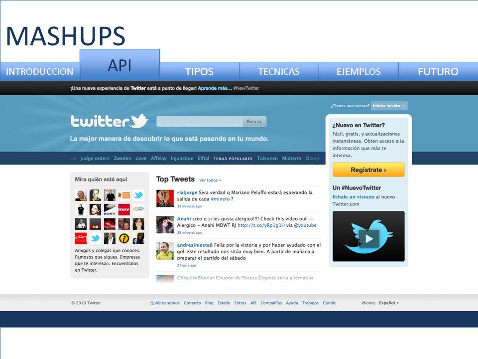 MASHUPS API INTRODUCCION TIPOS TECNICAS EJEMPLOS FUTURO