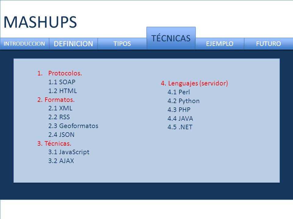 MASHUPS TÉCNICAS DEFINICION TIPOS EJEMPLO FUTURO Protocolos. 1.1 SOAP