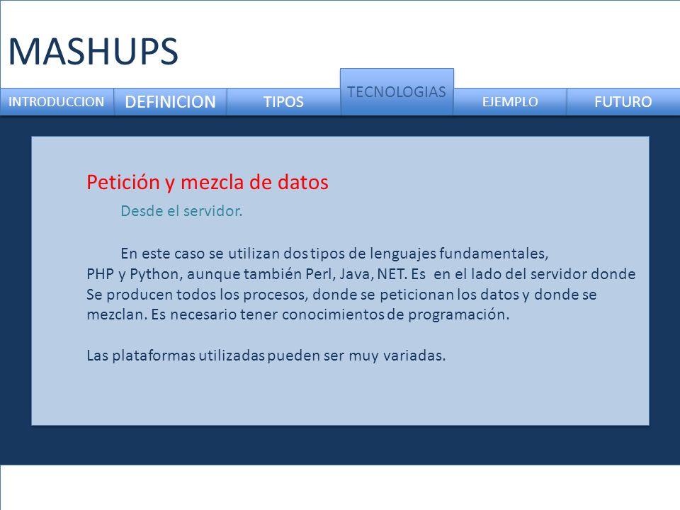 MASHUPS Petición y mezcla de datos Desde el servidor. DEFINICION