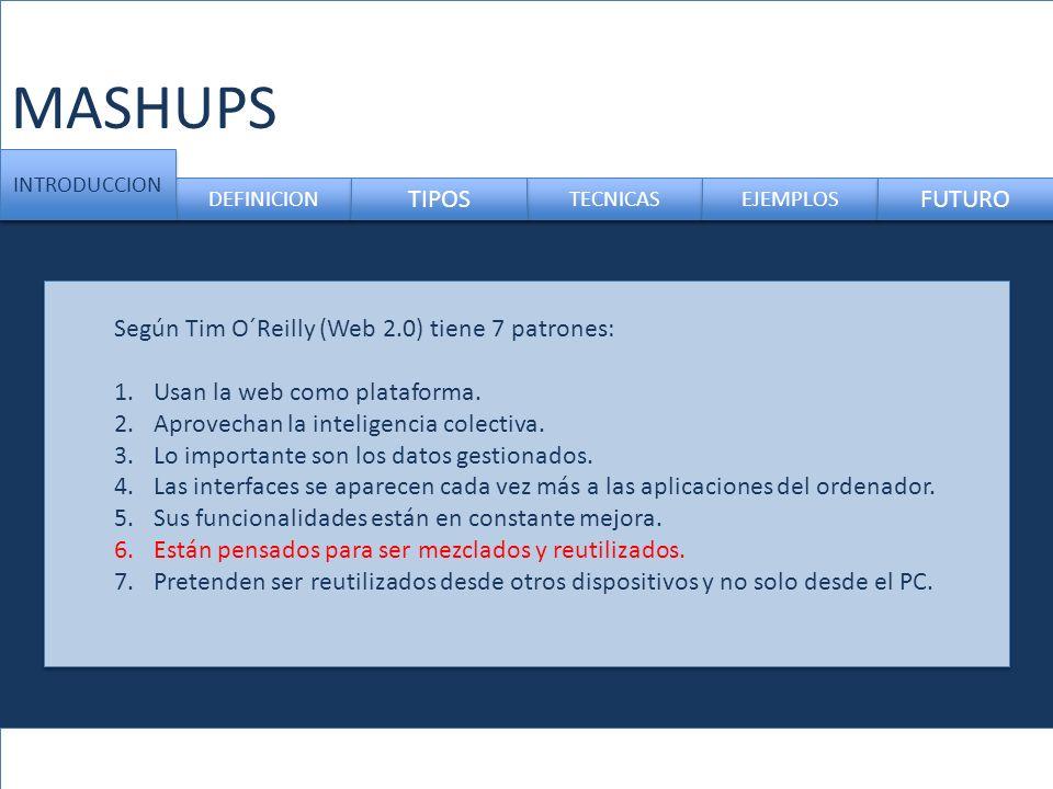 MASHUPS TIPOS FUTURO Según Tim O´Reilly (Web 2.0) tiene 7 patrones: