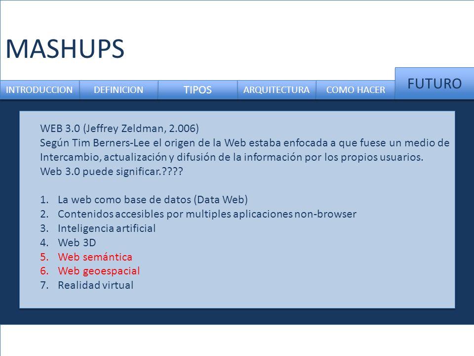 MASHUPS FUTURO TIPOS WEB 3.0 (Jeffrey Zeldman, 2.006)