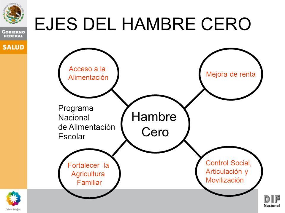 EJES DEL HAMBRE CERO Hambre Cero Programa Nacional de Alimentación