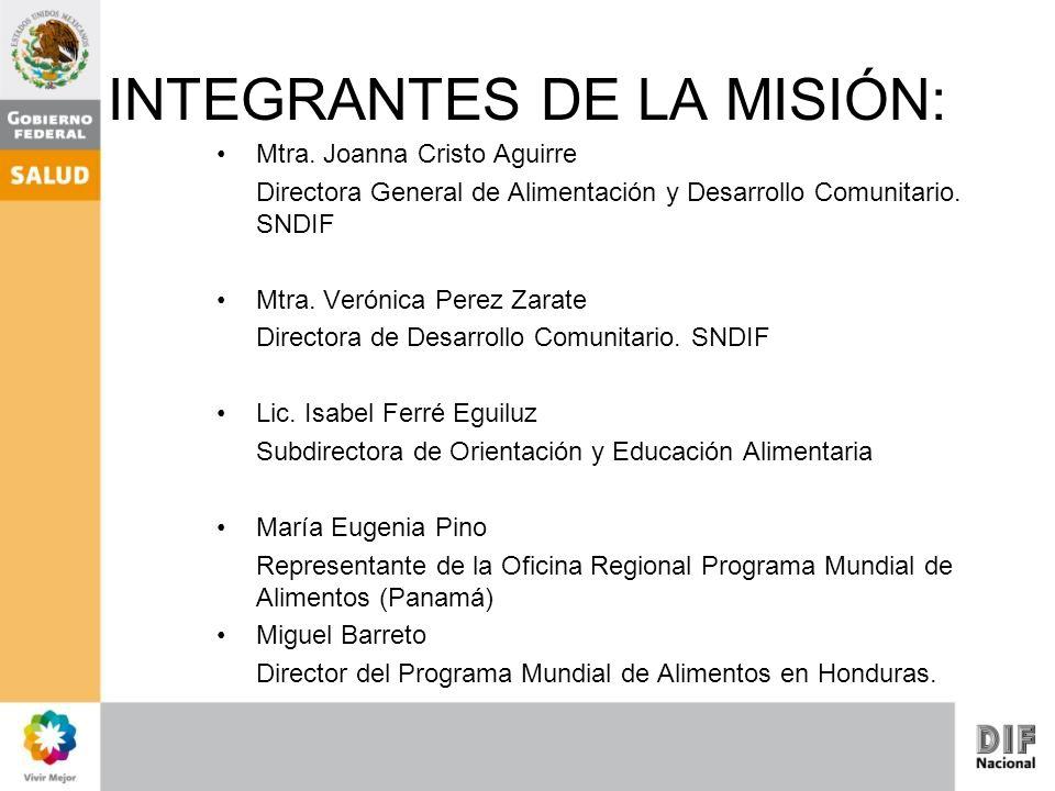 INTEGRANTES DE LA MISIÓN: