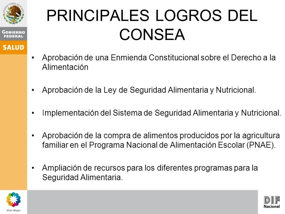 PRINCIPALES LOGROS DEL CONSEA