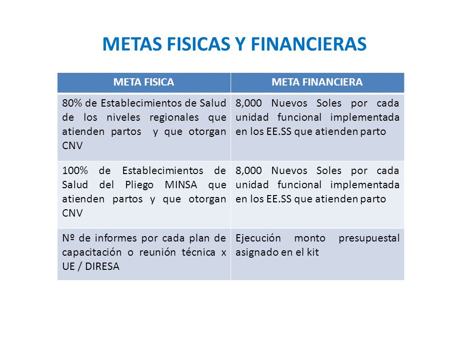 METAS FISICAS Y FINANCIERAS