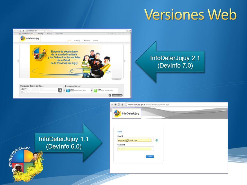 Versiones Web InfoDeterJujuy 2.1 (DevInfo 7.0)